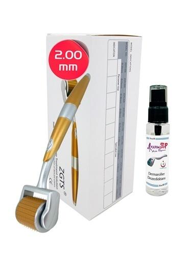 Zgts Dermaroller 2.00 mm Titanyum 192 İğneli Orijinal Gold Derma Roller Saç Yüz Vücut Renksiz